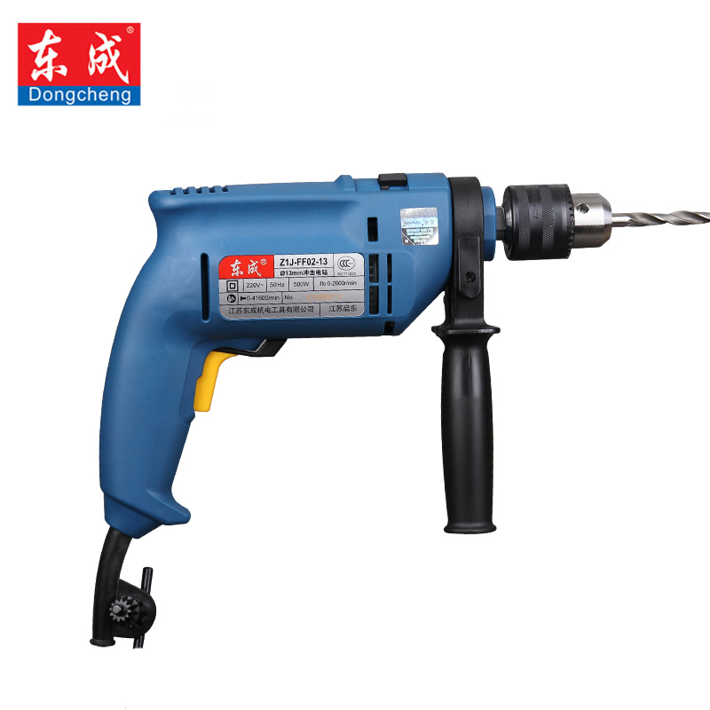 Dongcheng electric drill household impact drill 220v multi-function pistol drill wall screwdriver gun light hammer powder tools multi purpose impact drill for household use la414413 upholstery drilling wall percussion impact drill set power tools 220v