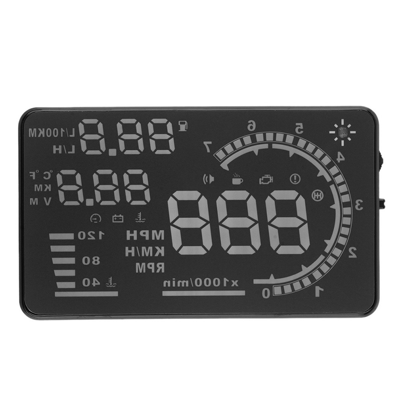 1PC A8 5.5 inch Universal Car HUD Head Up Display OBD II for Speeding Warning Vehicle-mounted LCD Screen Display