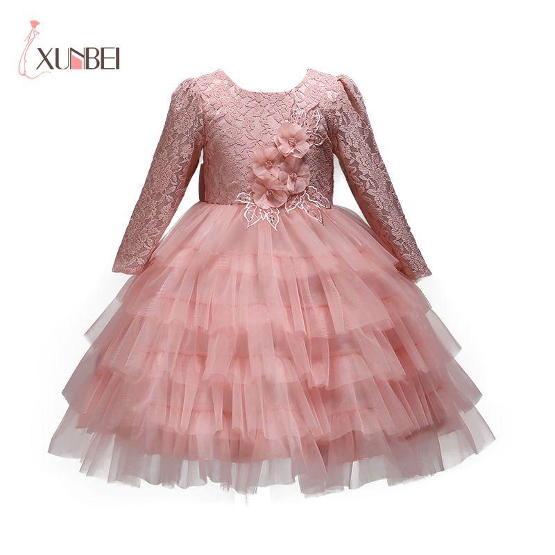 Lovely Princess Pink Long Sleeves O-Neck Tulle   Dress     Girls     Flower     Girl     Dresses   2019   Girls   Ball Gown First Communion   Dresses