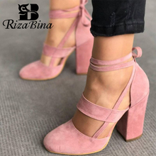 RIZABINA Women Sandals 2019 Summer Ankle Strap Shoes Women Sexy High Heels Sandals Women Casual Gladiator Sandal Size 35-43