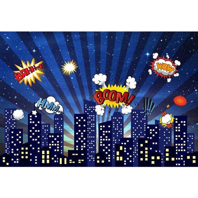 Superhero Themed Birthday Party Photo Booth Backdrop Night