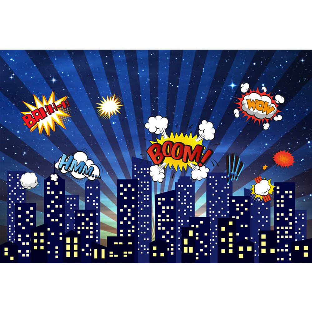 Superhero Themed Birthday Party Photo Booth Backdrop Night Sky Glitter Stars City Buildings Kids Cartoon Photography Background