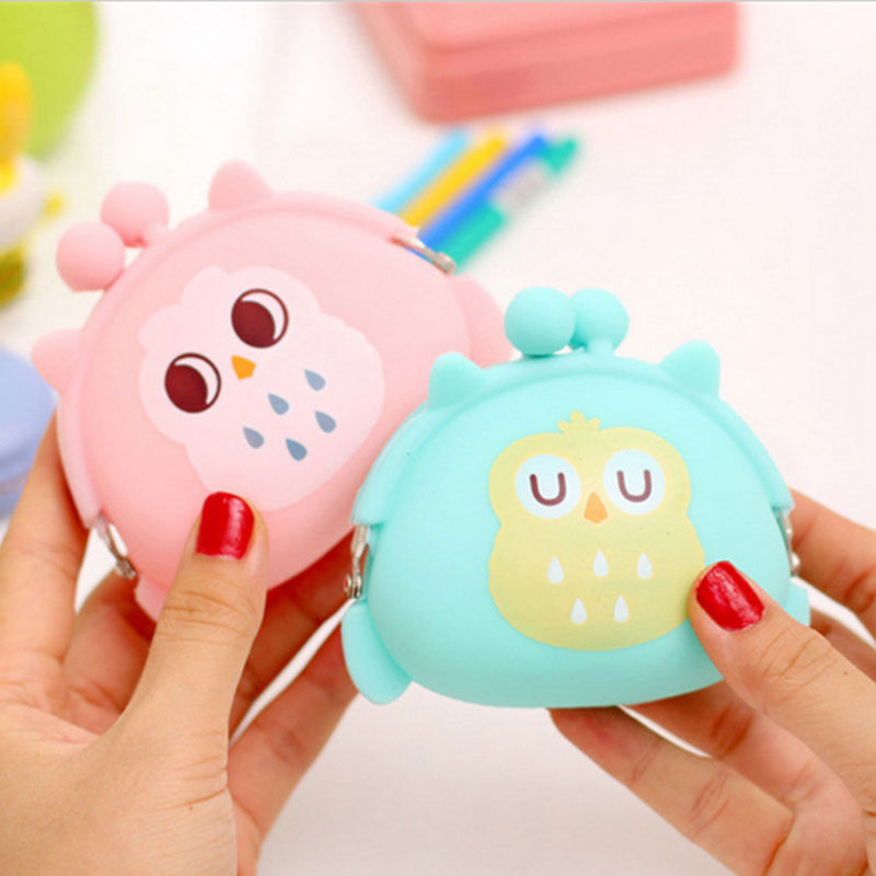 Coin Purses Women Purse for Coins Children's Wallet Kids Wallets Cute Cartoon Owl Silicone Jelly Change Bag Keys Pouch Carteira high security sliver golde smart hotel lock digital door lock with hidden rfid card reader