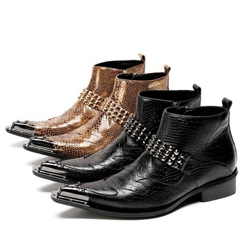 Fashion Italy Ankle Genuine Leather Black Snake Skin Men Shoes Luxury Cowboy Chelsea Mens Western Motorcycle Boots Dress Shoes