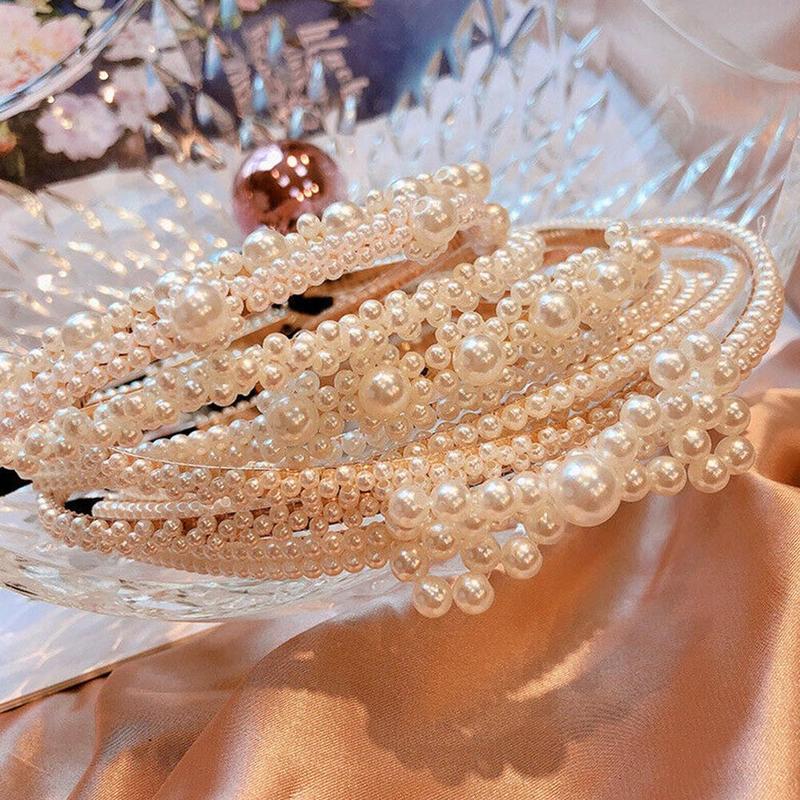 Женская Имитация Большой жемчуг повязка на волосы для девушек аксессуары для волос женский элегантный свадебный ободок вечерние Свадебные обруч для волос