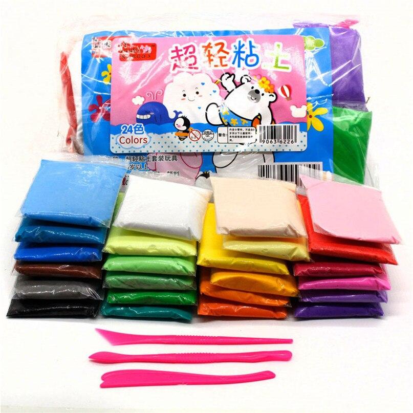 24 Colors 3D Air Dry Light Clay Polymer DIY Light Soft Play Dough Creative Educational Handgum Toys Plasticine Modelling Clay