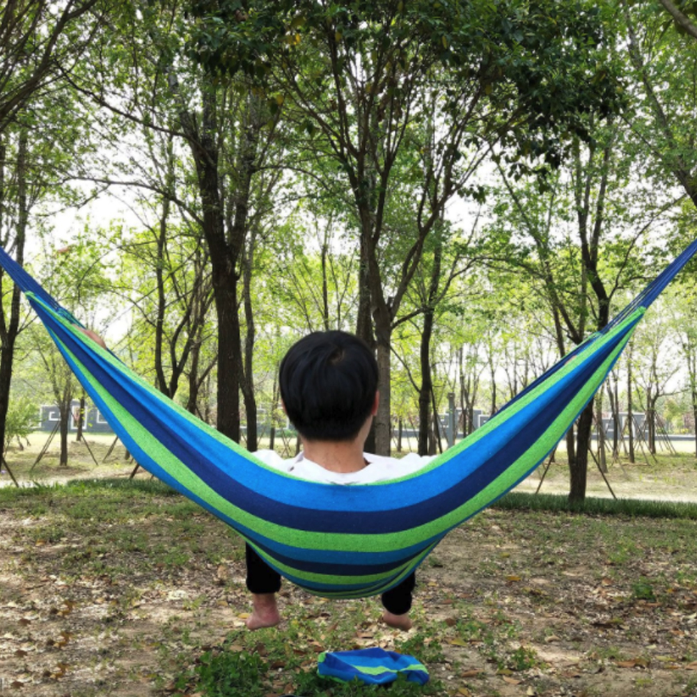 260*150cm 2 People Outdoor Camping Hammock Bend Wood Stick Swing Leisure Garden Canvas Swing Hanging Chair New Arrival Hangmat