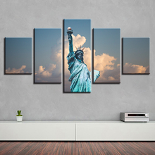 Wall Art Pictures HD Printing 5 Pieces Statue Of Liberty Landscape Canvas Painting Modular Decor Home Living Room Modern Posters