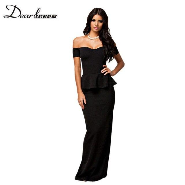 0300ffbb8f Queridos amantes 2017 otoño elegante formal Maxi Vestidos negro de las  mujeres del hombro partido peplum