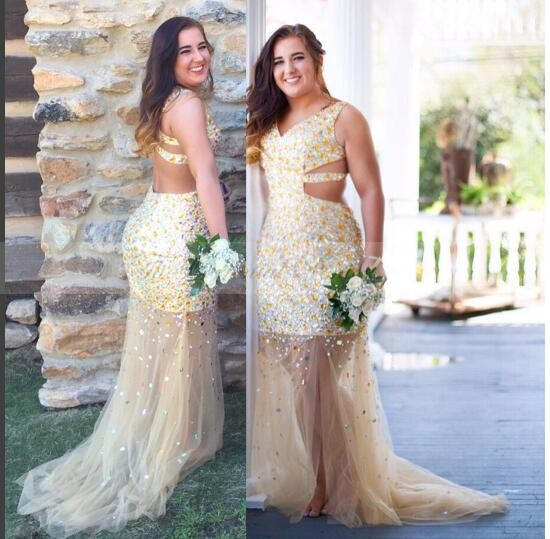 37924370a57f Sparkly Gold Crystal Plus Size Mermaid Prom Dresses 2017 Bling Beads Sexy V  Neck See Through Tulle Champagne Evening Party Dress-in Prom Dresses from  ...