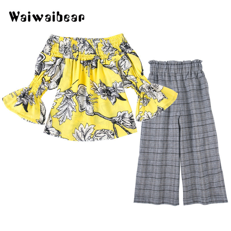 все цены на Summer Kids's Sets Off-shoulder Top + High waist Wide-legged Trousers Floral Clothing Sets Children Costume For Girls