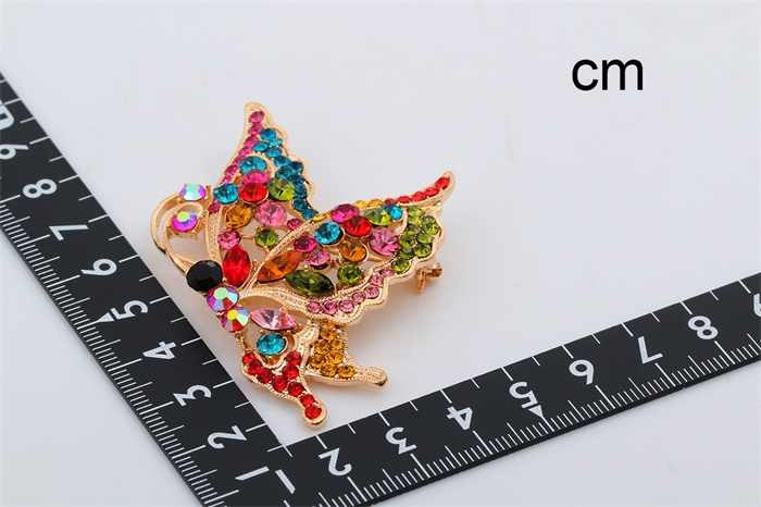 UNTUK PENJUALAN BESAR Warna Emas Warna Kupu-kupu Kristal Berlian Imitasi Syal Kerah Bros Pins Wanita Mewah Fashion Perhiasan
