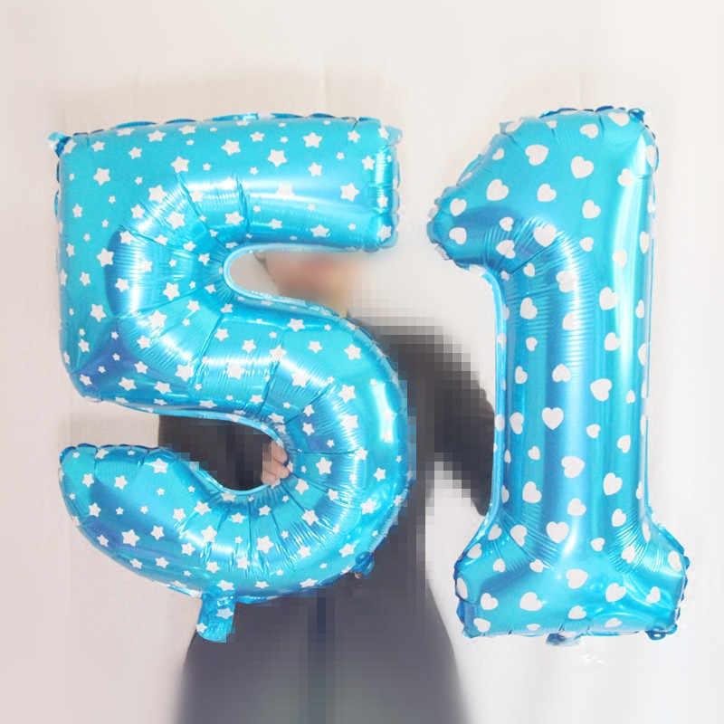 32 40 Inch Hitam Mawar Merah Nomor Balon 0-9 Digit Helium Foil Balon untuk Pesta Pernikahan Ulang Tahun Dekorasi air Bola Mainan