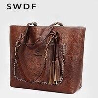 SWDF Новинка 2019 года для женщин кисточкой сумочка Роскошные масла Bolsa Feminina Дизайнер Вязание сумка женские кожаные Сумки SAC основные сумки