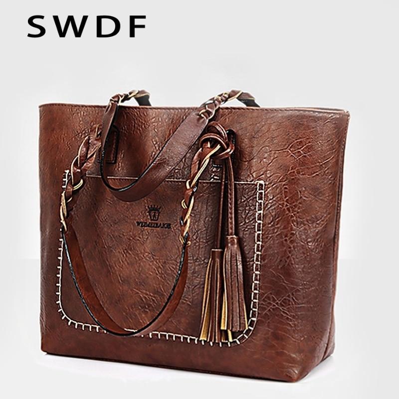 SWDF 2019 New Women Tassel Handbag Luxury Oil Bolsa Feminina Designer Knitting Shoulder Bag Leather Bags Ladies SAC A Main Bags
