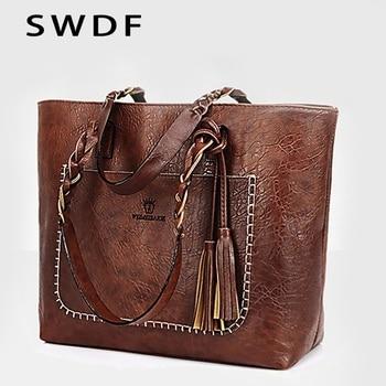 1da7792e7 SWDF 2019 las nuevas mujeres borla bolso de lujo aceite Bolsa femenina de  tejer de diseñador bolso de hombro de cuero de mujer bolsas SAC principal  bolsas