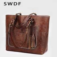 SWDF 2019 nuevo bolso de borla de mujer de lujo aceite Bolsa femenina de diseñador de punto bolso de hombro de cuero bolsos de las señoras saco A principal bolsas