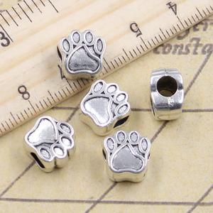 10 pçs grânulos cão urso pata 5mm grande buraco do vintage encantos pingente europeu apto para pulseira diy antigo cor de prata ajuste fazendo