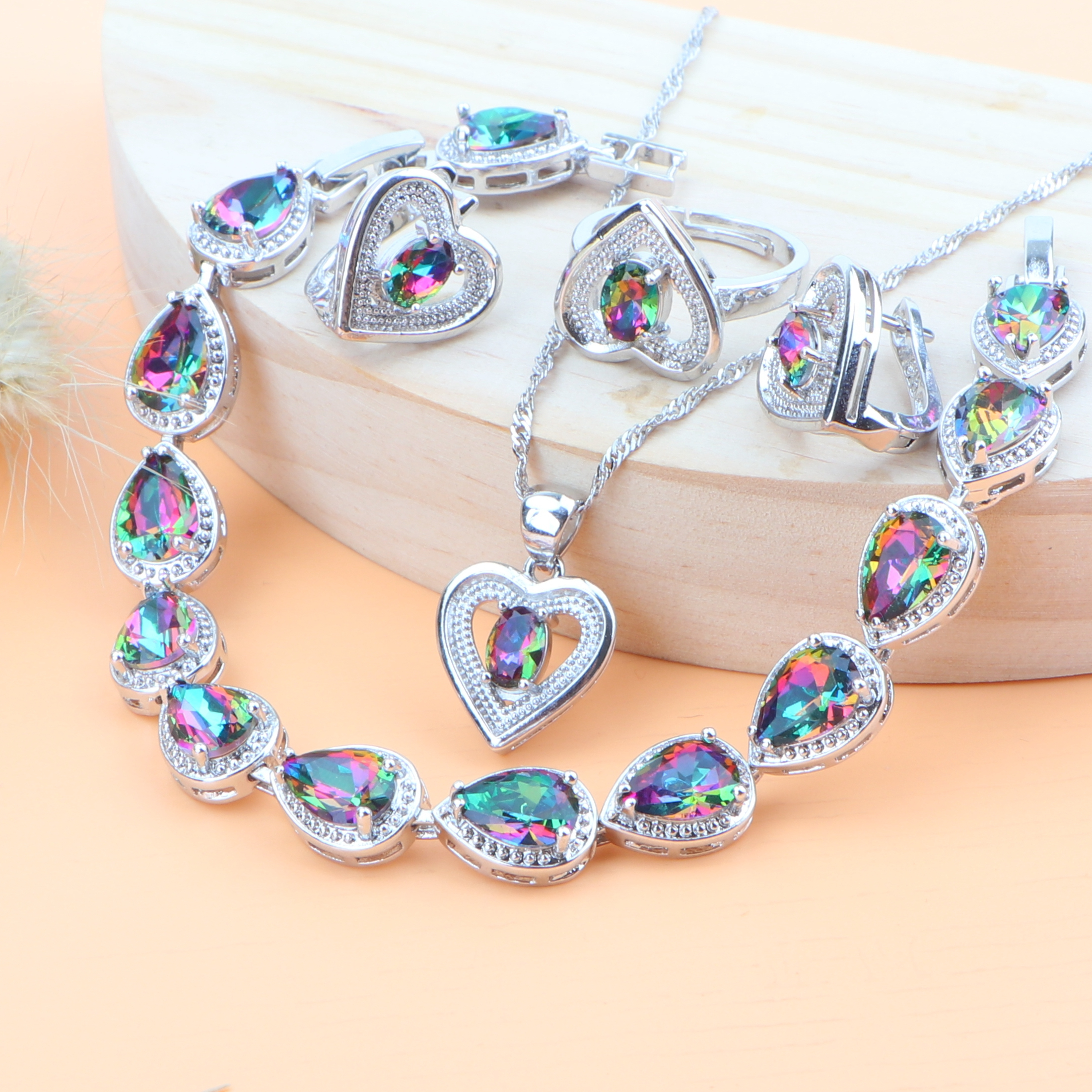 925-Jewelry Bracelet Ring-Necklace-Set Earrings Gift-Box Bridal Silver Wedding Natural
