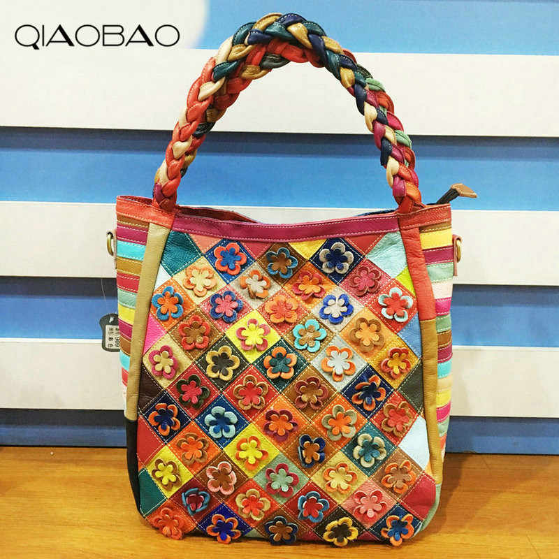 fa7dcba0a073 QIAOBAO 100% Cowhide Leather Bag Flower Big Ladies Hand Bags Girls Soft  Genuine Leather Shoulder