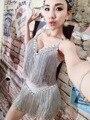 Ночной клуб серебряный Кисточкой one piece костюм партия шоу этап одежда DJ DS певица производительность трико