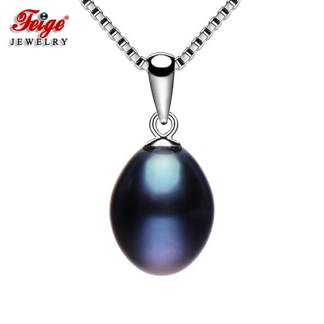 Klasik Siyah Inci Kolye Kadın Hediyeler için Kolye 8-9 MM Tatlı Su Incileri Gerçek 925 Gümüş Zincir Güzel takı FEIGE