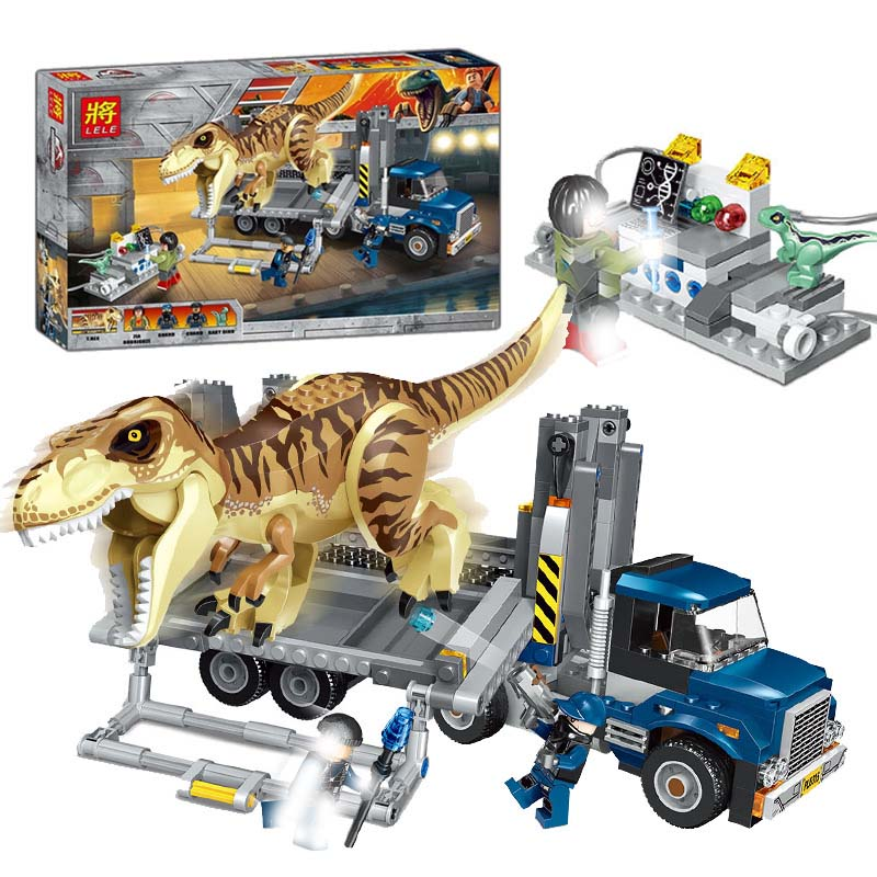 631Pcs Jurassic World T. Rex Transport Truck Dinosaur Tyrannosaurus Rex Model Building Blocks Toys Bricks Compatible With lego мешок для обуви t rex world