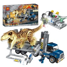 631Pcs Jurassic World T. Rex Transport Truck Dinosaur Tyrannosaurus Rex Model Building Blocks Toys Bricks Compatible lepining wiben jurassic tyrannosaurus rex t rex dinosaur toys action figure animal model collection learning