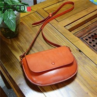 AETOO Art Fan leather female package vegetable suede semicircle small package tree cream leather retro shoulder bag