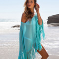 Maternity Swim Dress Knitted Cloak Blouse Bikini Beach Large Size Dress Fringed Shawl Transparent Bathing Suit Covers YF59