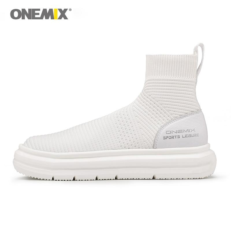 Onemix unisexe chaussettes bottines hommes hauteur augmentant chaussures de marche pour les femmes en plein air trekking baskets tricot couple chaussures