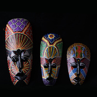Gorgeous Colored Drawing Thailand Manual Stippling Men Face Wood Masks Creative Home Decorations Bar Artistic Wall Ornamentation