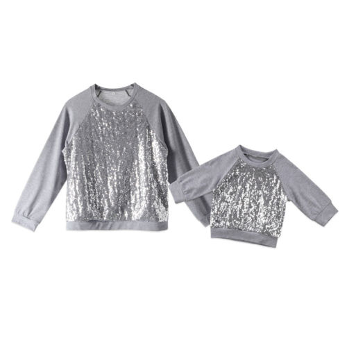 850829baaeb4e Women Kids Baby Girls Sequin Top T shirt Blouse Sweatshirt Casual Clothes  Silver Family Matching-in Matching Family Outfits from Mother   Kids on ...