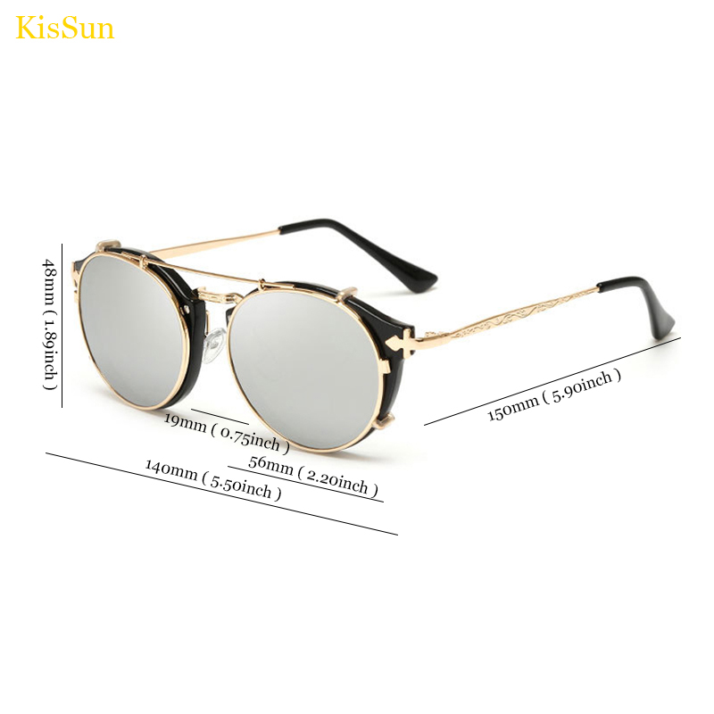 2017 Baru Kedatangan Vintage Steampunk Kacamata Cermin Kacamata Hitam - Aksesori pakaian - Foto 4