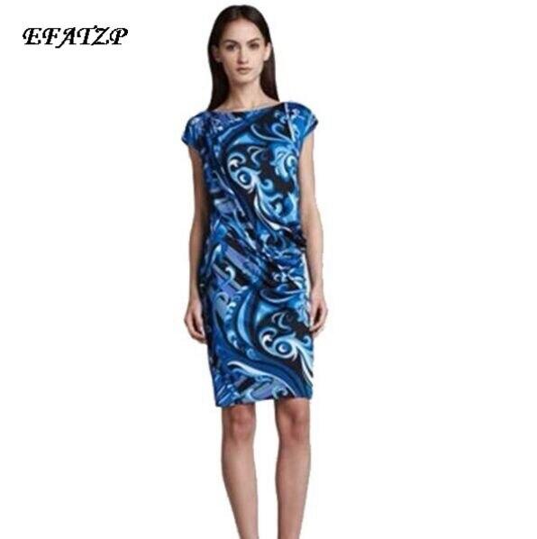 New 2015 Designer Luxury Brands Women s Blue Print Short Sleeves Stretch Jersey Silk Plus Size