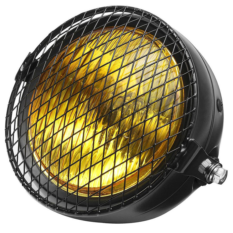 High Quality Metal Body 6.5 Retro Motorcycle LED Amber Headlight Side Mount + Grill Cover For Bracket Cafe Racer Old School
