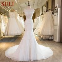 SL-29 New Arrival Ivory Crystal Mermaid Wedding Dresses Lace 2017