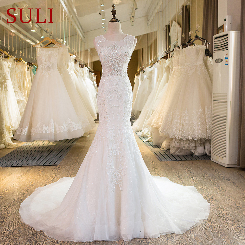SL-29 New Arrival Ivory Crystal Mermaid Wedding Dresses Lace 2017