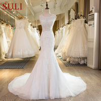 SL 29 New Arrival Lace Crystal Mermaid Wedding Dresses 2017