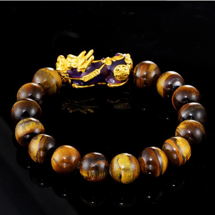 Новое поступление натуральный желтый тигровый глаз Обесцвечивающий Pixiu песочный золотой браслет