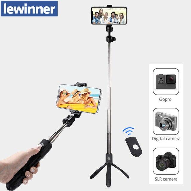Lewinner K05 Bastone Selfie Treppiede 4 in 1 Allungabile Monopiede Bluetooth Del Telefono A Distanza di Montaggio per il iphone X 8 Android gopro