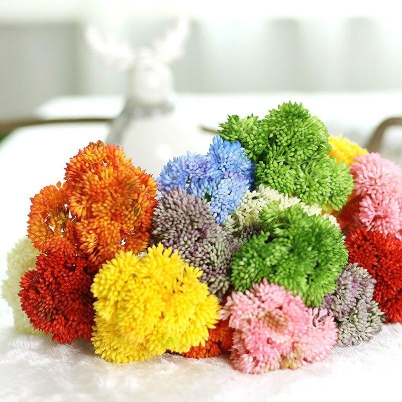 1 Pcs Artificial Hydrangea Flower Simulation Fake Soft Glue Rice Fruit Wedding Succulent Plants Home Garden Decoration