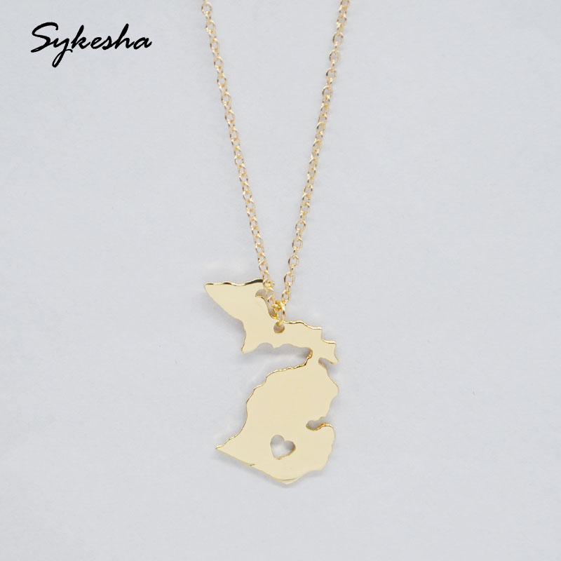 2018 New Hot Selling Michigan State Pendant Necklace MI State Map Statement Necklace Charm Jewelry For Women Mothers Day Gift ...