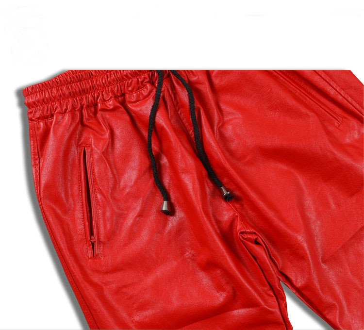 PU Leather Pants Men Elastic Waist Plus Size Side Zipper Hip Hop Leather Trousers Fashion Kanye West Justin Bieber Style Pants (11)