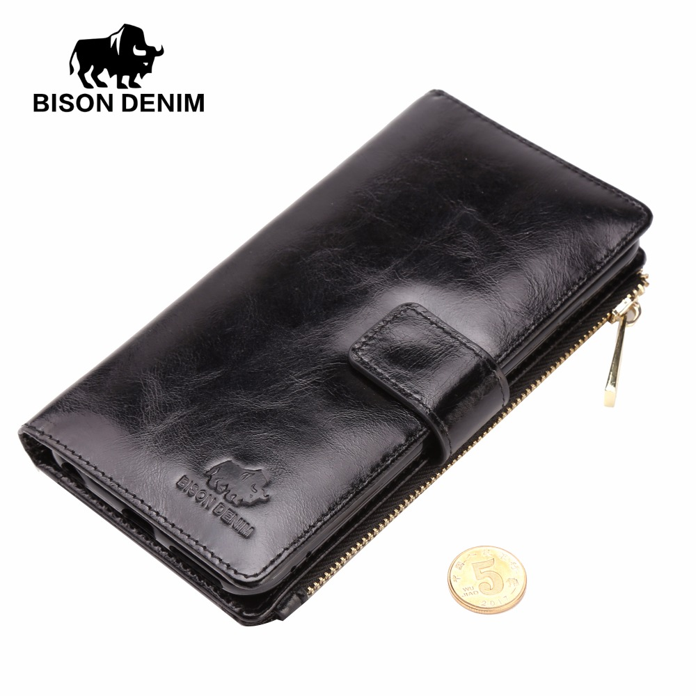 BISON DENIM Genuine Leather iPhone Wallet Case Card Holder Iphone 6 7 plus Leather Cover Flip
