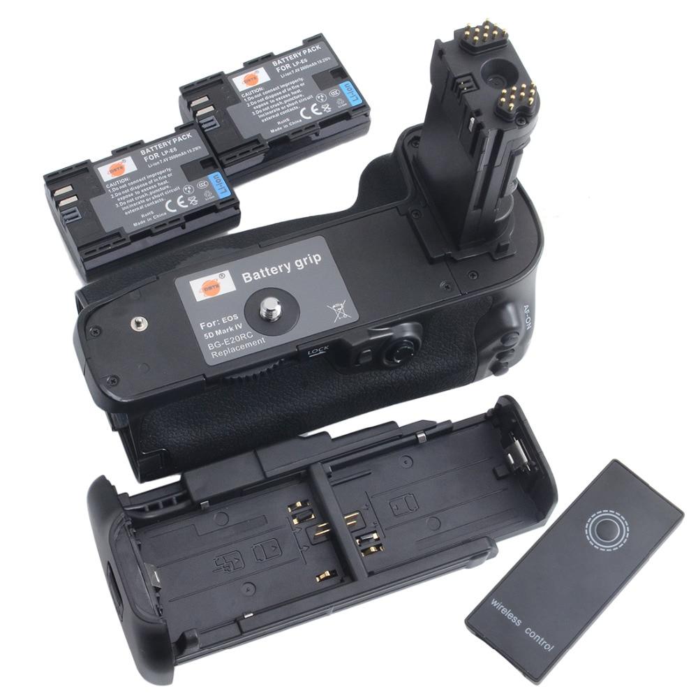 DSTE BG-E20H Battery Grip + 2pcs LP-E6 Battery for CANON EOS 5D Mark IV 5DIV 5D4 DSLR Camera батарейный блок для фотокамеры travor bg e11 canon eos 5 d mark iii 3 dslr lp e6