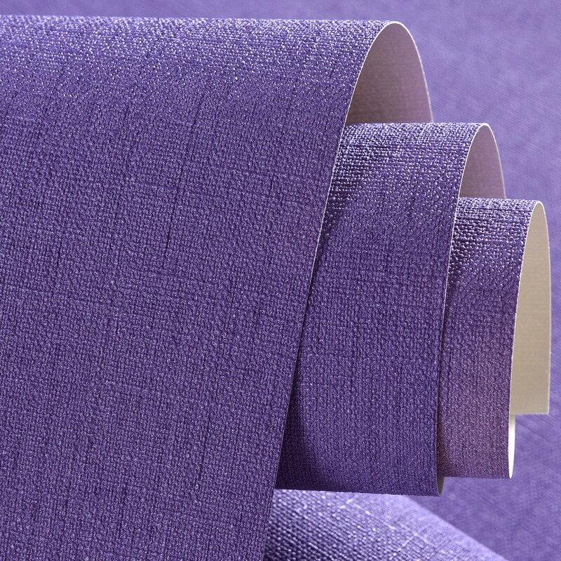 Qualité solide violet papier peint rouleau plaine lin vinyle papier peint pour fond TV chambre solide 3d papier peint pvc revêtements muraux