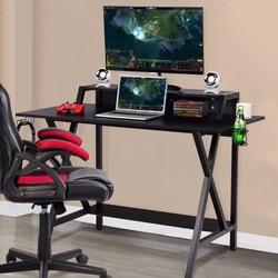 Giantex Gaming Desk All-In-One Professionale Gamer Scrivania Tazza Della Cuffia Cuffia Supporto di Alimentazione Mobili Commerciali della Striscia HW58800