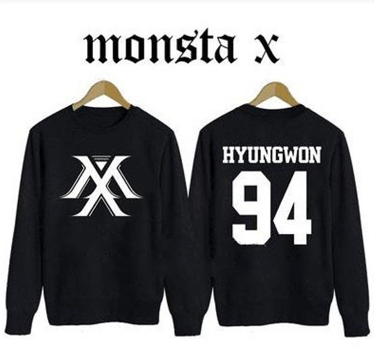 MONSTA X kpop Clothing Korean version of the Hoodies Autumn k-pop MONSTA men women Long sleeve Fleece coat Sweatshirt Outerwears image