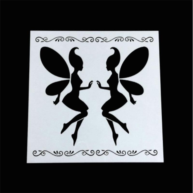 1PC Magic Fairy Angel Shaped Reusable Stencil Airbrush Painting Art DIY Home Decor Scrap Booking Album Crafts